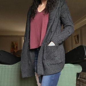 dark grey knit cardigan